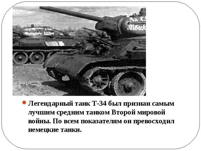 Легендарный танк Т-34 был признан самым лучшим средним танком Второй мировой...