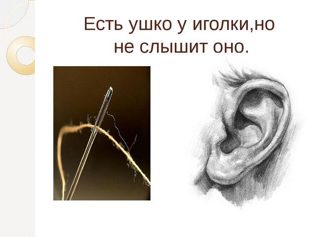 Есть ушко у иголки,но не слышит оно.