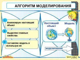 Анализирую настоящий объект Выделяю главные свойства Составляю модель и испол