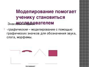 Моделирование помогает ученику становиться исследователем Знаковые модели: -г