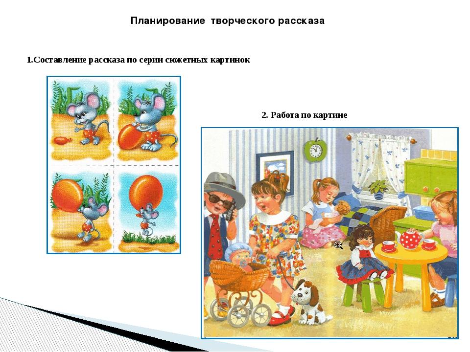 Планирование творческогорассказа 1.Составление рассказа по серии сюжетных к...