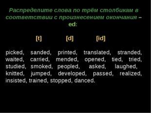 Распределите слова по трём столбикам в соответствии с произнесением окончания