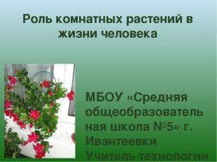 Роль комнатных растений в жизни человека МБОУ «Средняя общеобразовательная шк