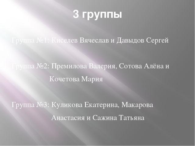 3 группы Группа №1: Киселев Вячеслав и Давыдов Сергей Группа №2: Премилова Ва...