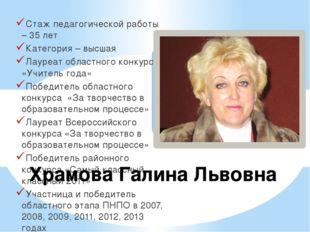 Стаж педагогической работы – 35 лет Категория – высшая Лауреат областного кон