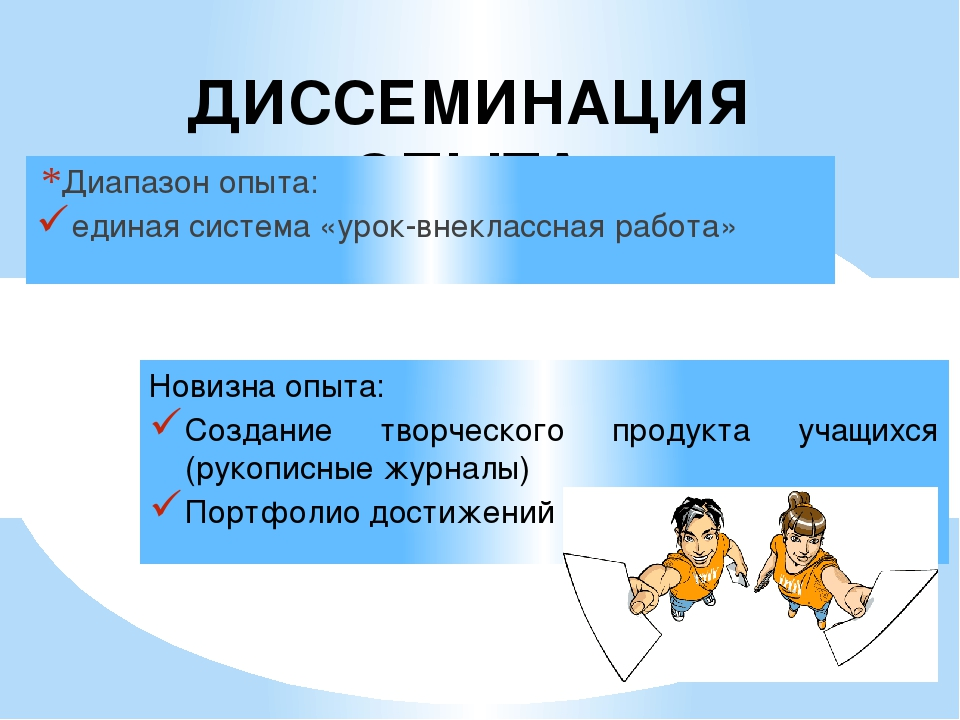 ДИССЕМИНАЦИЯ ОПЫТА Диапазон опыта: единая система «урок-внеклассная работа» Н...