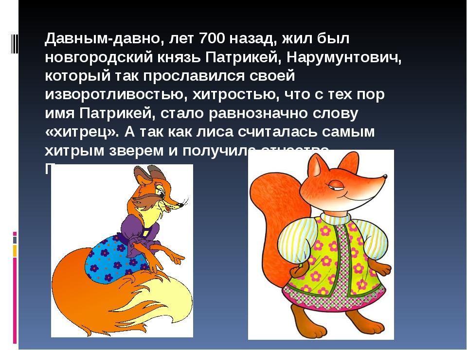 Давным-давно, лет 700 назад, жил был новгородский князь Патрикей, Нарумунтови...