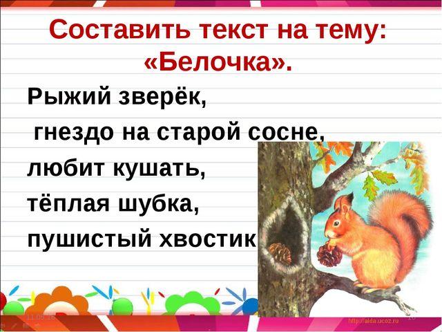 Составить текст на тему: «Белочка». Рыжий зверёк, гнездо на старой сосне, люб...