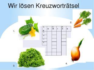 1. 2. 3. 4. Wir lӧsen Kreuzworträtsel. 1. G E 2. M Ǜ 3. S E U R K  E    4.