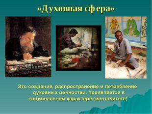 «Духовная сфера» Это создание, распространение и потребление духовных ценност
