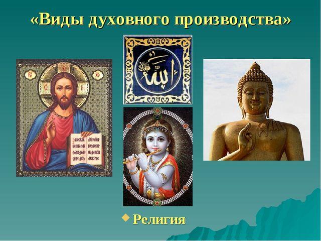 «Виды духовного производства» Религия