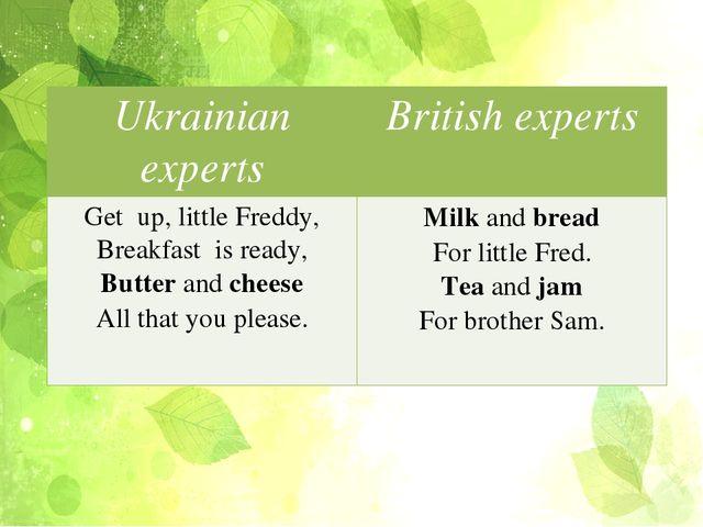 Ukrainian experts Britishexperts Get up, little Freddy, Breakfast is ready,...