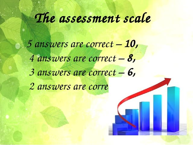 The assessment scale 5 answers are correct – 10, 4 answers are correct – 8, 3...