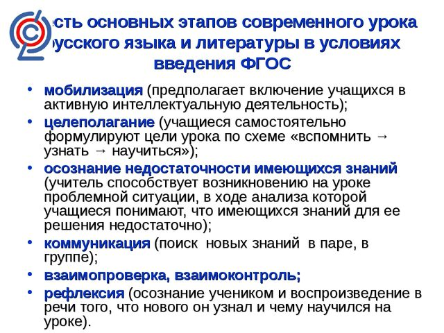 Шесть основных этапов современного урока русского языка и литературы в услови...