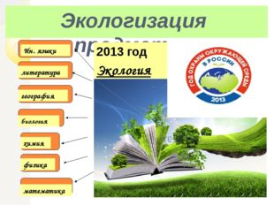 Экологизация предметов биология химия физика Экология математика география ли
