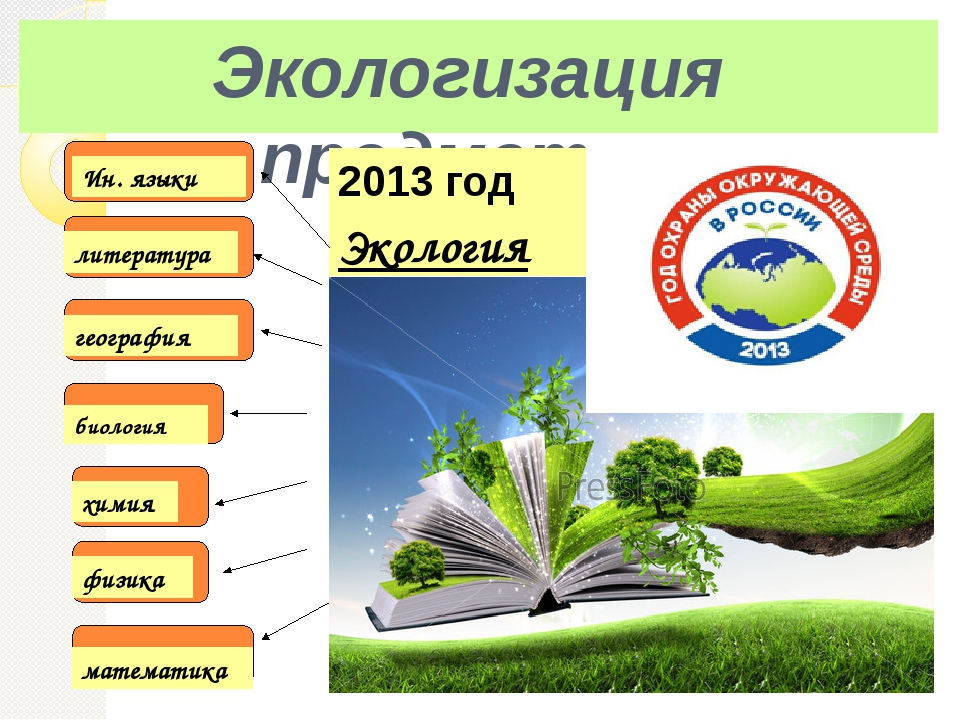 Экологизация предметов биология химия физика Экология математика география ли...