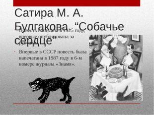 """Сатира М. А. Булгакова. """"Собачье сердце"""" Повесть написана в 1925 году, впервы"""