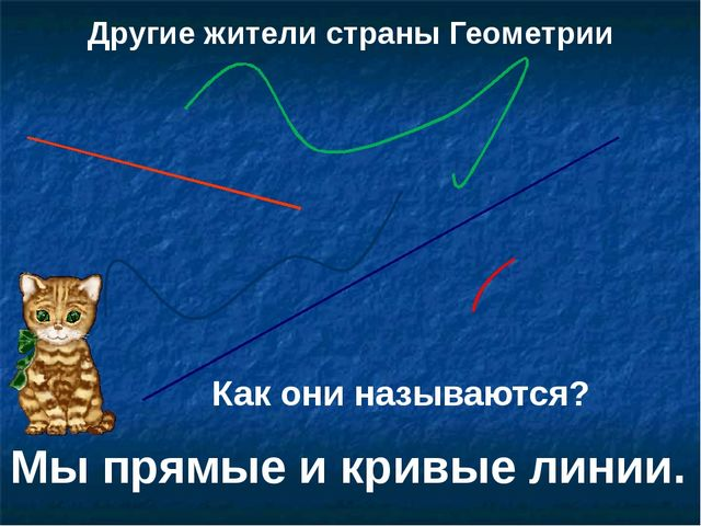Другие жители страны Геометрии Как они называются? Мы прямые и кривые линии.