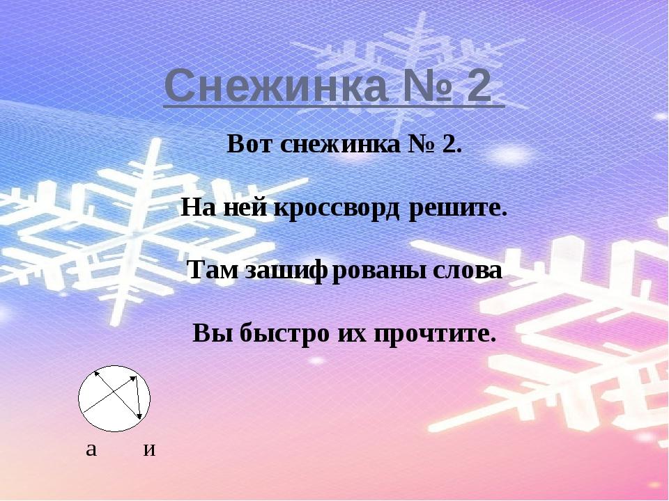 Снежинка № 2 Вот снежинка № 2. На ней кроссворд решите. Там зашифрованы слов...