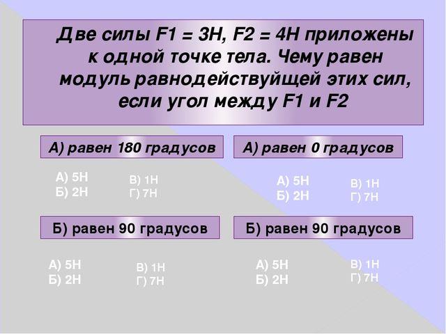 Две силы F1 = 3Н, F2 = 4Н приложены к одной точке тела. Чему равен модуль рав...
