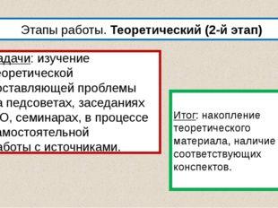 Этапы работы. Теоретический (2-й этап) Задачи: изучение теоретической составл