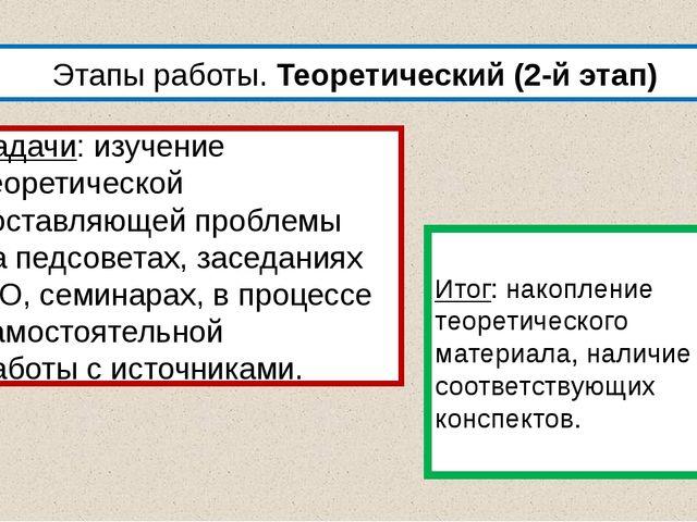 Этапы работы. Теоретический (2-й этап) Задачи: изучение теоретической составл...