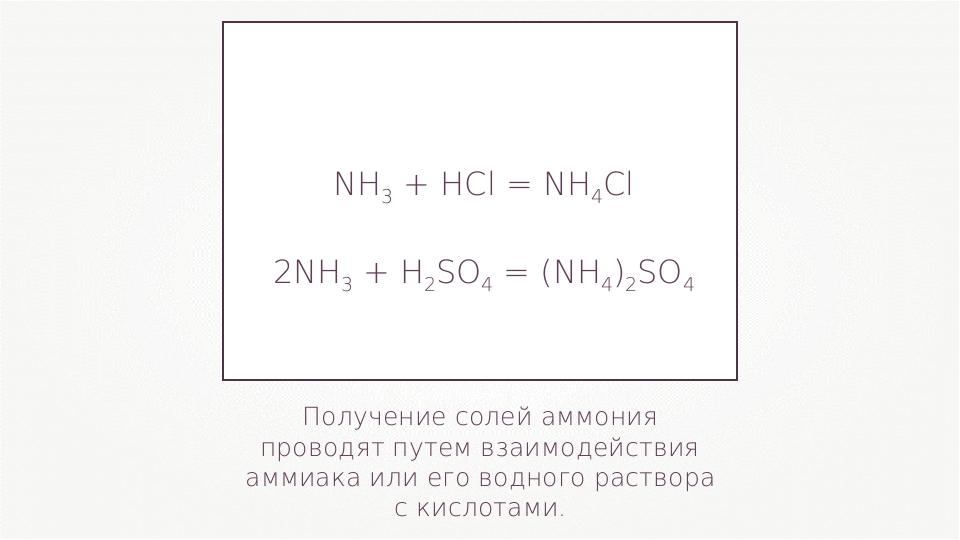 Получение солей аммония проводят путем взаимодействия аммиака или его водного...