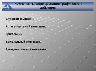 Компоненты формирования графического действия: Слуховой компонент. Артикуляц