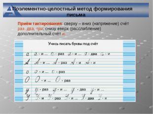 Поэлементно-целостный метод формирования письма Приём тактирования: сверху –