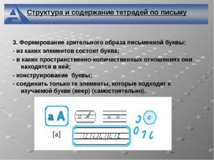 Структура и содержание тетрадей по письму 3. Формирование зрительного образа