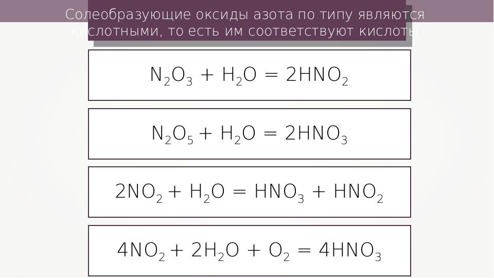 N2O3 + Н2О = 2HNO2 N2O5 + Н2О = 2HNO3 2NO2 + Н2О = HNO3 + HNO2 4NO2 + 2Н2О +...