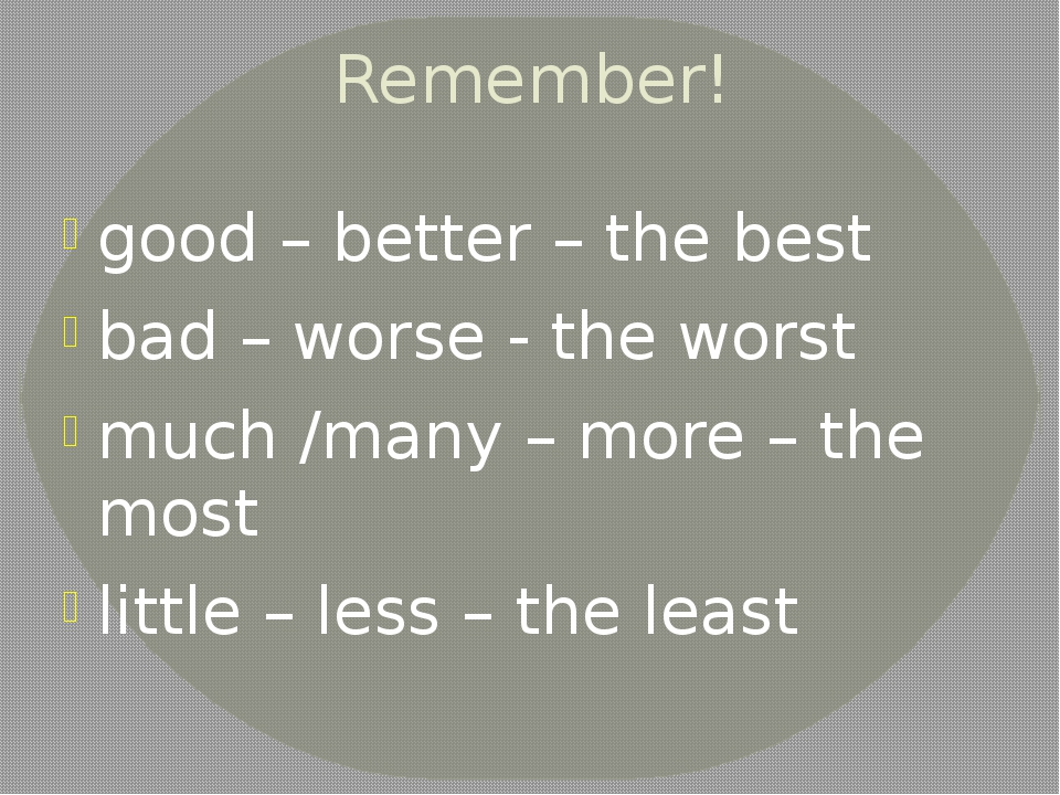Remember! good – better – the best bad – worse - the worst much /many – more...