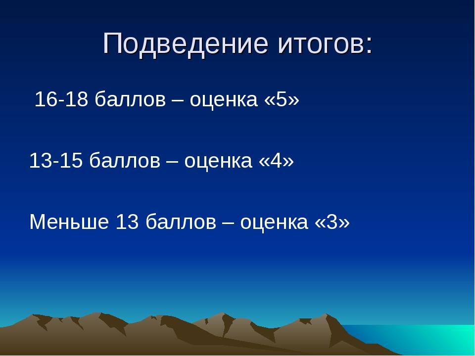 Подведение итогов: 16-18 баллов – оценка «5» 13-15 баллов – оценка «4» Меньше...