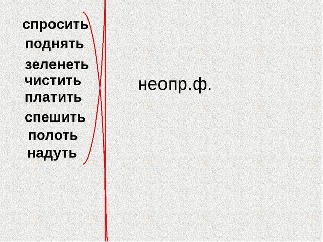 спросить поднять зеленеть чистить платить спешить полоть надуть неопр.ф.
