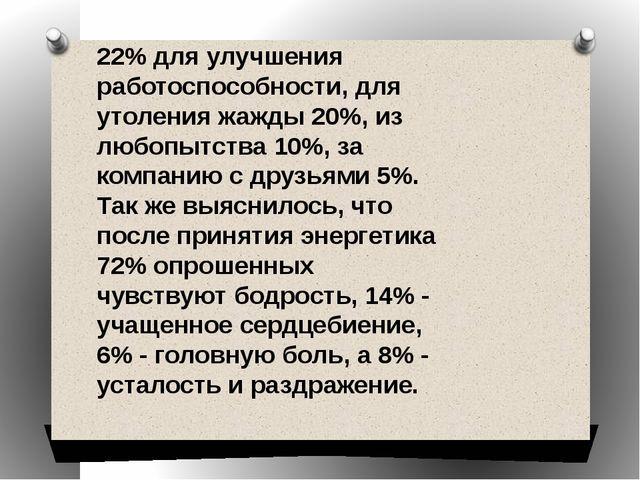 22% для улучшения работоспособности, для утоления жажды 20%, из любопытства 1...
