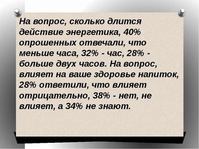 На вопрос, сколько длится действие энергетика, 40% опрошенных отвечали, что м...
