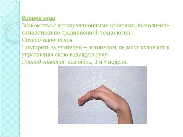 Второй этап Знакомство с артикуляционными органами, выполнение гимнастики по...