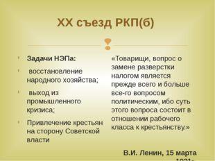 ХХ съезд РКП(б) Задачи НЭПа: восстановление народного хозяйства; выход из про
