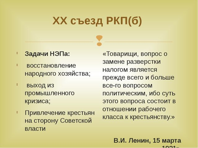 ХХ съезд РКП(б) Задачи НЭПа: восстановление народного хозяйства; выход из про...