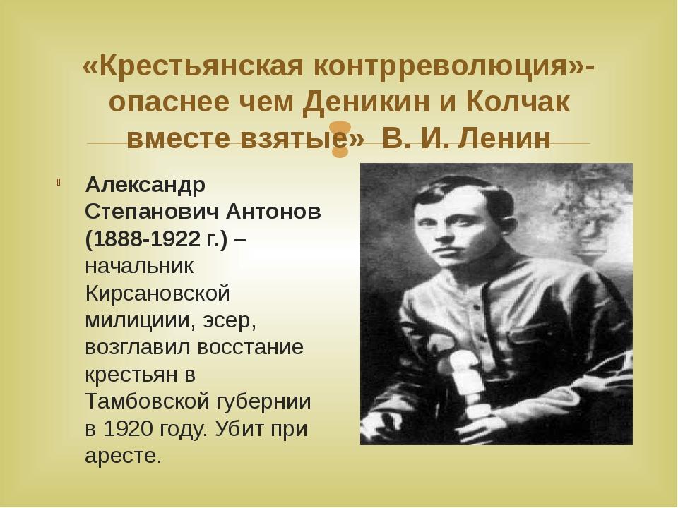 «Крестьянская контрреволюция»- опаснее чем Деникин и Колчак вместе взятые» В....