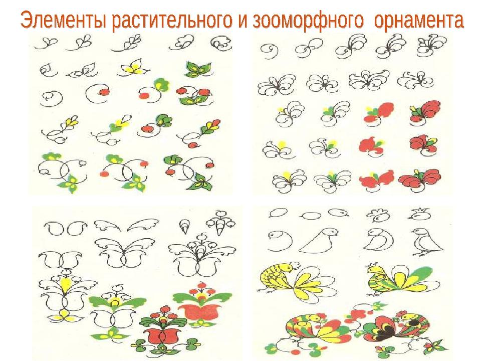 Листья и ягоды. Трёхлопастный цвет Тюльпановидный цветок. Птицы – петушки.