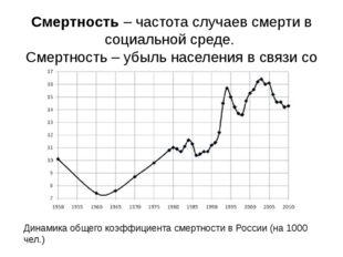 Смертность – частота случаев смерти в социальной среде. Смертность – убыль на