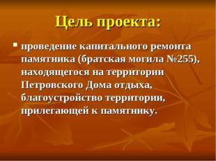 Цель проекта: проведение капитального ремонта памятника (братская могила №255