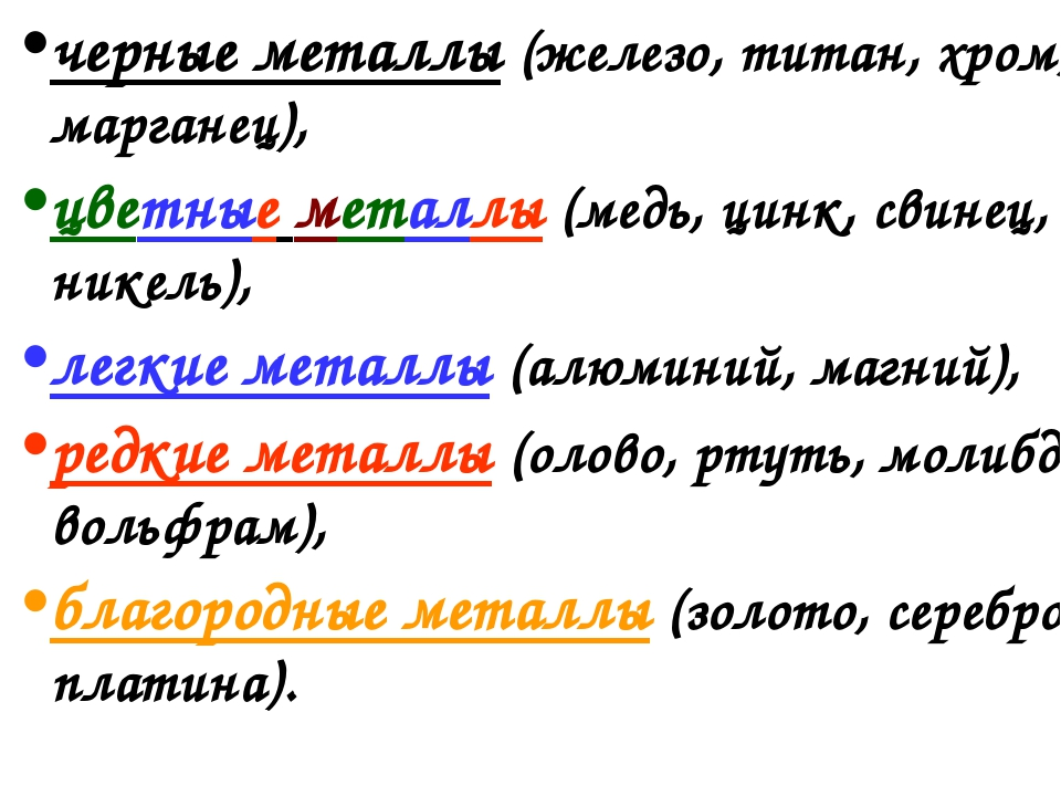 черные металлы (железо, титан, хром, марганец), цветные металлы (медь, цинк,...
