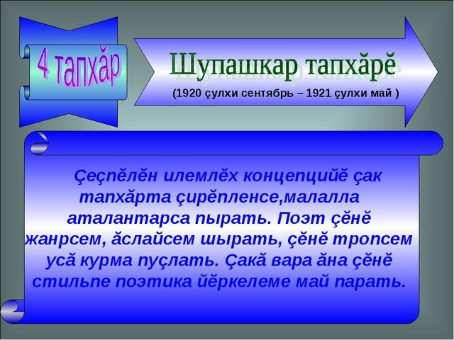 (1920 çулхи сентябрь – 1921 çулхи май ) Çеçпĕлĕн илемлĕх концепцийĕ çак тап...