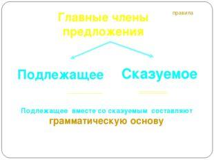 Главные члены предложения Подлежащее Сказуемое правила Подлежащее вместе со с