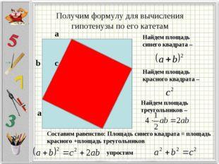 Получим формулу для вычисления гипотенузы по его катетам b а c а Найдем площа