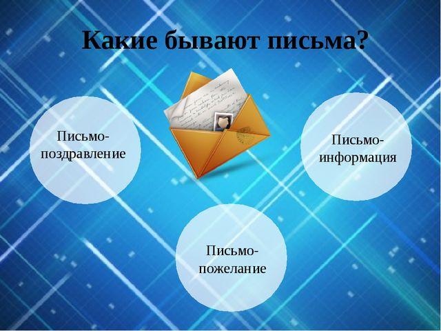 Какие бывают письма? Письмо- пожелание Письмо- информация Письмо- поздравление