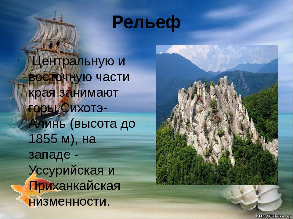 Рельеф Центральную и восточную части края занимают горы Сихотэ-Алинь (высота...