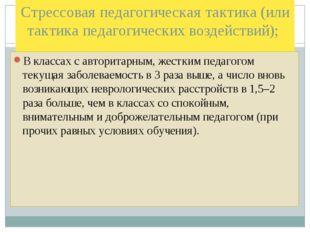 Стрессовая педагогическая тактика (или тактика педагогических воздействий); В